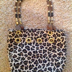 "Handbags - Leopard Cloth Handbag w/Beaded Straps 10""x8"""